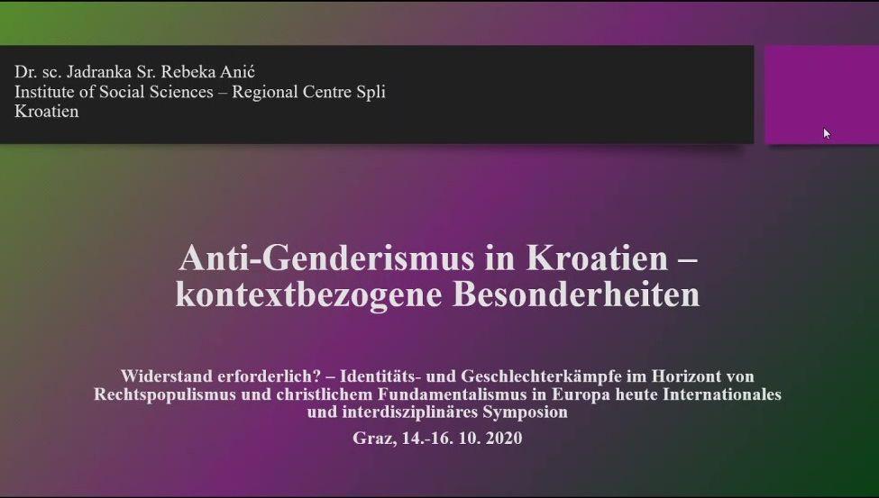 Dr. Sc. Jadranka Rebeka Anić Na Simpoziju O Identitetskim I Rodnim Sukobima U Kontekstu Desnog Populizma I Kršćanskog Fundamentalizma