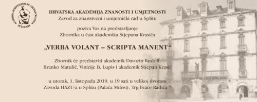 Predstavljanje Zbornika u čast akademika Stjepana Krasića VERBA VOLANT – SCRIPTA MANENT u Splitu