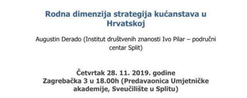 """Prezentacija rezultata projekta GENMOD: """"Rodna dimenzija strategija kućanstava u Hrvatskoj""""; Split"""