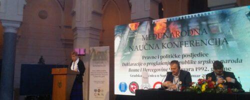 Dr. sc. Sandra Cvikić na konferenciji o posljedicama Deklaracije o proglašenju Republike srpskog naroda Bosne i Hercegovine
